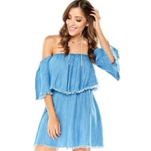 2ffde96475f5 Elan Dresses   Skirts - Elan Off the Shoulder Chambray Fringe Dress H029